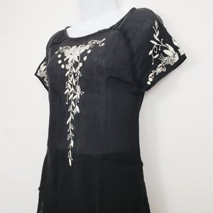 Anthropologie Floreat Black Embroidered Top Size 6